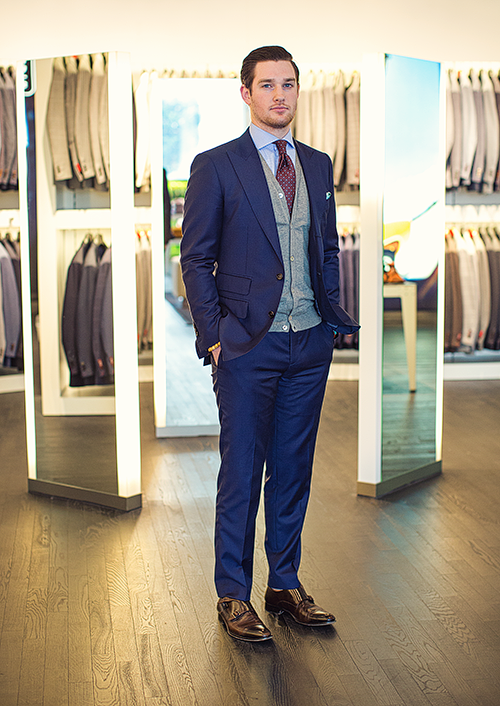 Grey Suit with Navy Blue Waistcoat
